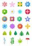 Paper flowers vector floral decoration or flowered greeting card decor for flowering invitation on birthday illustration. Flowery set of beautiful flora leaves Royalty Free Illustration