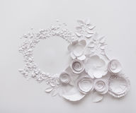 Paper flowers on the white background. Paper flowers and round on the white background Royalty Free Stock Image