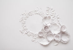 Paper flowers on the white background. Paper flowers and round on the white background Royalty Free Stock Photos