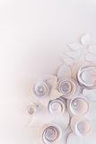 Paper flowers. White paper flowers on white background. Cut from paper Stock Photography