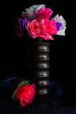 Paper flowers  in wooden vase Stock Photography