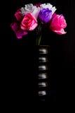 Paper flowers  in wooden vase Stock Photos