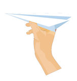 Paper fly. An illustration of a hand with a paper plane Royalty Free Stock Photography