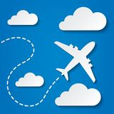 Paper flying plane in clouds. Travel background. Stock Images