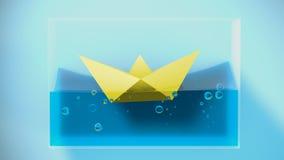 Paper folded boat sailing. 3D Rendering. Concept illustration Stock Image