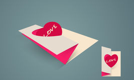 Paper folded card for Valentines Day. Royalty Free Stock Image