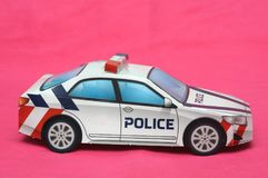A paper folded police patrol car royalty free stock photos