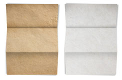 Paper folded, white and brown old paper texture Royalty Free Stock Photos