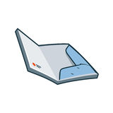 Paper folder icon in cartoon style. Simplified opened paper folder icon in cartoon style. Print publishing icon series Stock Image