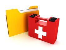 Paper folder with medical first aid kit. 3d Stock Images