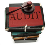 Paper folders and gavel Royalty Free Stock Images