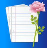 Paper folias and pink rose on a blue background. Vector illustration Royalty Free Stock Photo