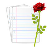 Paper folias and red rose Royalty Free Stock Photos