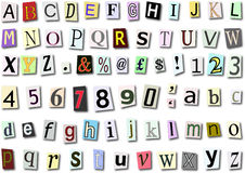 Paper Font. Font made up of different type on paper backgrounds Royalty Free Stock Photography