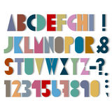 Paper font, numbers and punctuation mark with shadows. Vector set Stock Photography
