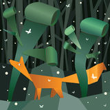 Paper fox in a paper forest. Stock Image