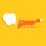 Paper fox with a speech bubble Stock Images
