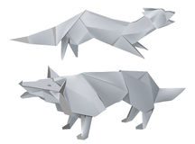 Paper_fox_wolf. Illustration of folded paper models, fox and wolf on white background, Vector illustration Stock Photos