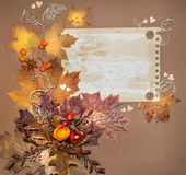 Paper frame decorated with autumn decorations Royalty Free Stock Photography