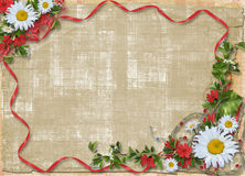 Paper frame with floral beautiful bouquet Stock Photos