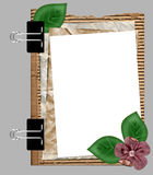 Paper frame with flower. Old paper frame with flower Royalty Free Stock Photo
