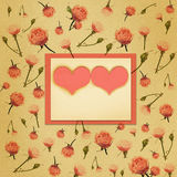 Paper frame with heart and flowers Stock Photos