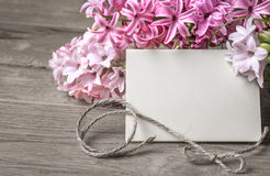 Paper frame with hyacinth flowers and cord Stock Image