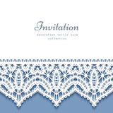 Paper frame with lace border. Cutout paper background, decorative frame with lace border pattern, save the date card or wedding invitation template Stock Photo