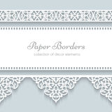 Paper frame with lace borders stock illustration