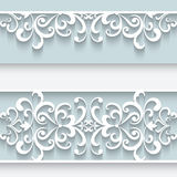 Paper frame with lace borders Stock Photos