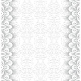 Paper frame with lace borders. Paper lace background, ornamental frame with lacy seamless borders Royalty Free Stock Photo