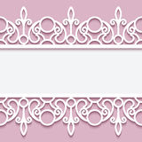 Paper frame with lace borders. Paper lace background, ornamental frame with lacy seamless borders Royalty Free Stock Image