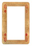 Paper frame from old playing card queen of diamonds isolated on white Royalty Free Stock Photo