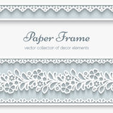 Paper frame with ornamental borders stock illustration