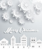 Paper Frame Town. Merry Christmas Royalty Free Stock Image