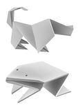 Paper_frog_dog. Illustration of folded paper models, frog dog basset. Vector illustration Royalty Free Stock Images