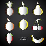 Paper Fruit Set cut out - mix design card illustration Royalty Free Stock Images