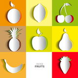 Paper Fruit Set cut out - mix design card illustration Stock Image