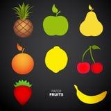 Paper Fruit Set cut out - mix design card illustration Stock Images
