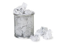 Paper in a garbage basket Stock Photography