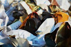 Paper garbage, close up and background Royalty Free Stock Image