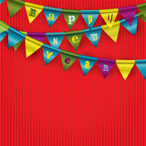 Paper garland on red background Royalty Free Stock Photo