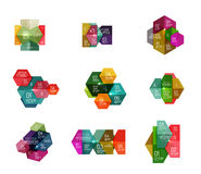 Paper geometric abstract infographic layouts. Vector business templates Vector Illustration