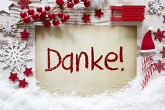 Bright Christmas Decoration, Snow, Danke Means Thank You