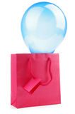 Paper gift bag with balloon Stock Photos