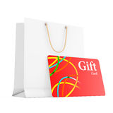 Paper Gift Bag with Gift Card. 3d Rendering. Paper Gift Bag with Gift Card on a white background. 3d Rendering Stock Photography