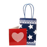 Paper gift bag with greeting card Stock Images