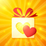 Paper gift box with cutout red heart Stock Photos