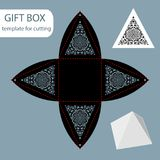 Paper gift box, lace pattern, pyramid with a square bottom, cut out template, packaging for retail, greeting packaging, can be las vector illustration