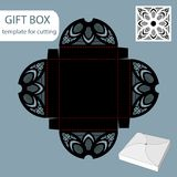 Paper gift box, lace pattern, square bottom, cut out template, packaging for retail, greeting packaging, can be laser cut,. Vector illustrations royalty free illustration
